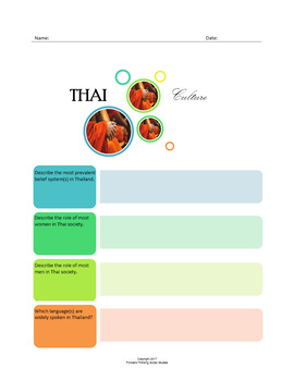 Thai Culture:  A Fillable Fact-Finding Sheet