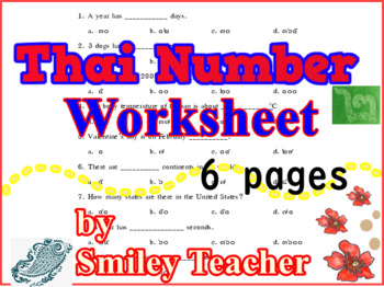 Thai Number Worksheet Thailand Asian Studies Practice Free