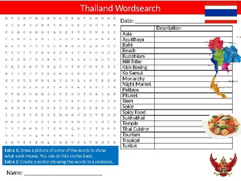 Thailand Wordsearch Sheet Starter Activity Keywords Country Geography