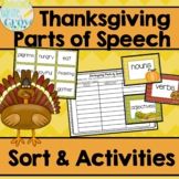 Thanksgiving Parts of Speech Sort & Activities