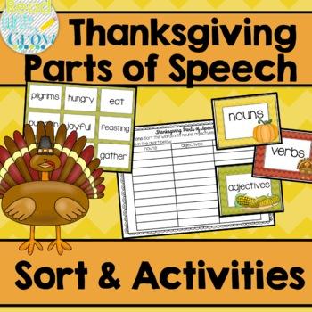 Thanksgiving Parts of Speech Sort & Activities