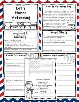 Veterans Day -- Informational Text, Word Study, Graphic Organizers and More