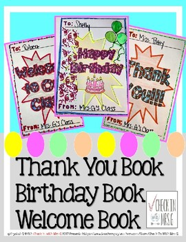 Thank You Book, Birthday Book, Welcome Book