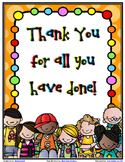 Thank You Booklet - (Suitable for School Staff or Parent Thank You)