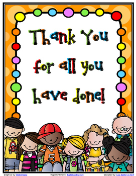 Thank You Booklet - (Suitable for School Staff or Parent T