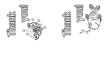 Thank You Card - Butterfly & Fish Clipart