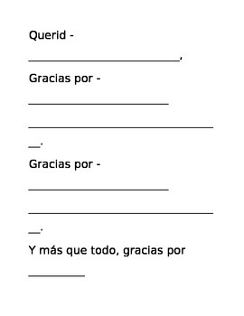Thank You Card Template (Spanish)