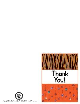 Thank You Cards - Animal Print - ZisforZebra - Editable!