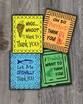 Thank You Cards - Animals, Set of 8, Show Appreciation, Thoughtfulness
