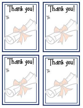 Thank You Cards: Cap & Diploma--Graduation, Teacher Appreciation, End-of-Year!