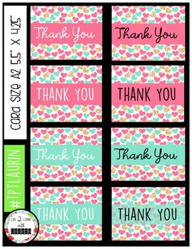 Thank You Cards (Gold, Pink, Teal Hearts Pack)