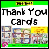 Thank You Cards SUPERHERO Theme for STAFF or Students