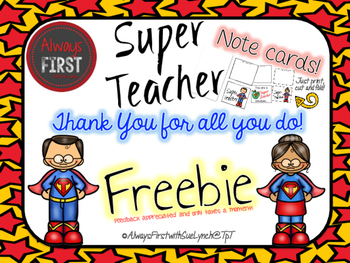 Thank You Cards {FREEBIE} Super Teacher Appreciation Day! | TpT