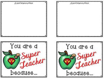 Thank You Cards Super Teacher Appreciation Day Tpt