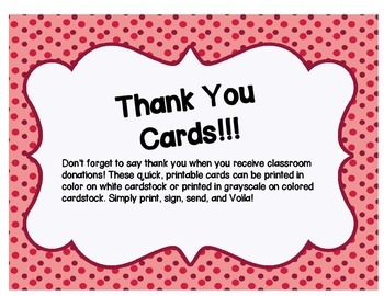 Thank You Cards for Classroom Donations