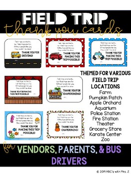 Thank You Cards for Field Trip Chaperones and Vendors