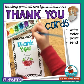 Thank You Cards for Primary Learners to Read, Color, Paint and Send