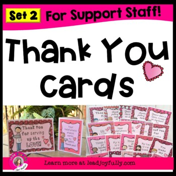 Thank You Cards for Support Staff (Heart Theme)