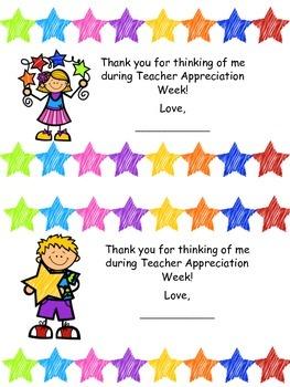 Thank You Cards for Teacher Appreciation Week FREEBIE