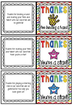 thank you cards for volunteers freebie editable customizable tpt
