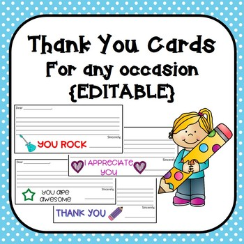 Thank You Cards for any Occasion {EDITABLE}