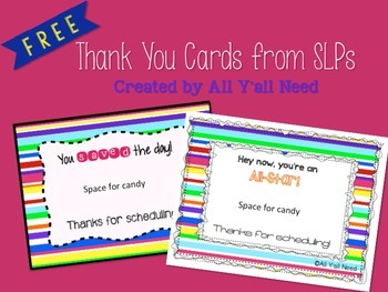 Speech Therapy Scheduling Thank You Cards