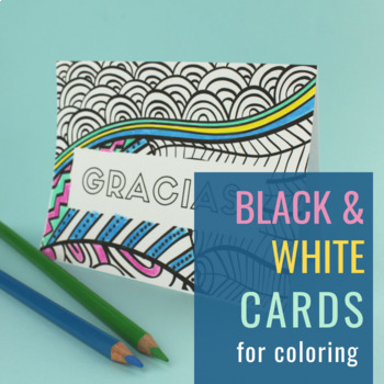 Thank You Cards In Spanish In Color Black And White By Spanish