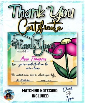 Thank You Certificate 3 with Matching Notecards
