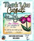 Thank You Certificate  with Matching Notecards