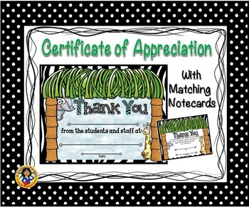 Thank You Certificate 4 with Matching Notecards