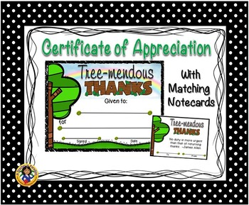 Thank You Certificate 5 with Matching Notecards