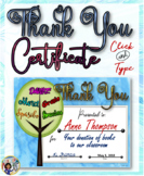 Thank You Certificate 6 with Matching Notecards