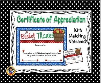 Thank You Certificate 7 with Matching Notecards