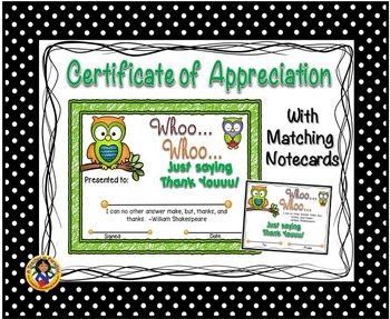 Thank You Certificate 8 with Matching Notecards