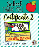 Thank You Certificates School 2 {Fillable}