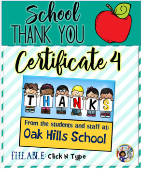 Thank You Certificates School 4 {Fillable}