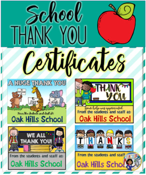 Thank You Certificates (School) - Fillable
