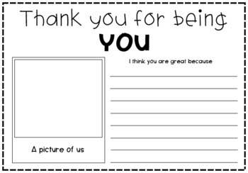Thank You For Being You - Activity Worksheet