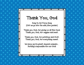 THANK YOU, GOD: A prayer for young children