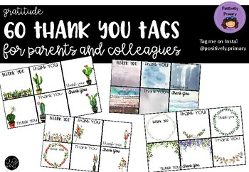 Thank You Gratitude Tags for Parents and Colleagues