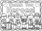 Thank You Heroes Coloring Sheets / Cards