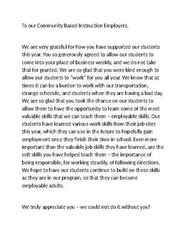 Thank You Letter: Community Based Instruction Employers