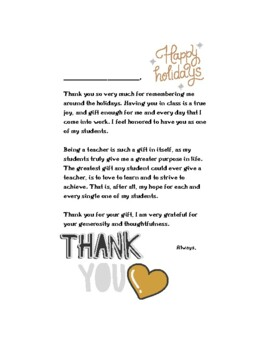 Thank You Letter   Holiday   From Teacher To Students  Thank You Letters