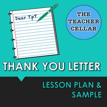 Thank You Letter Lesson Plan Template And Sample By The Teacher Cellar
