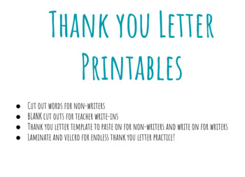 Thank You Letter Template/Word Cut Outs - NON-WRITERS and WRITERS!