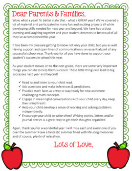 end of the year letter to parents from editable end of year letter for parents color amp black 22349