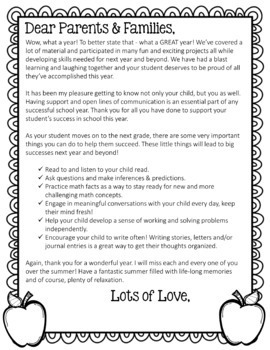 A Thank You Letter To My Parents.Editable End Of Year Letter For Parents Color Black Versions