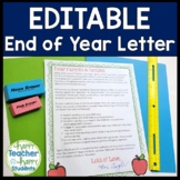 EDITABLE End of Year Letter for Parents (Color & Black versions)