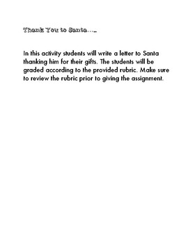 Thank You Letter to Santa