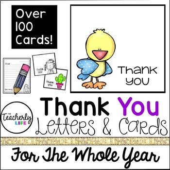 Thank You Letters & Cards - For The Whole Year!